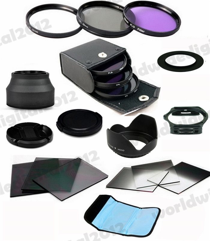 58 MM Lens Hood + UV CPL FLD Filter Kit For Canon Lens Camera + 6pcs ND2 ND4 ND8 Gradual ND2 4 8 Filter Set for Cokin P NEW(China (Mainland))