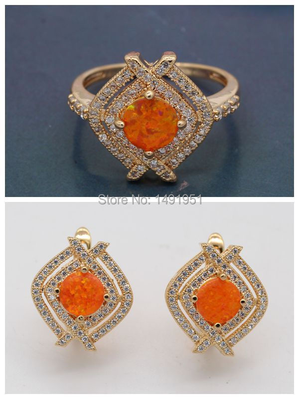 Beautiful Pleasantly Jewelry orange/white/bule Fire Opal Zircon 18k Gold Plated Earrings Ring Set Wholesale <br><br>Aliexpress