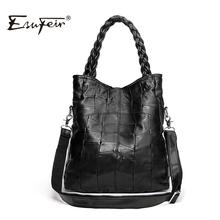 New 2016 Fashion Genuine Leather Women Handbag Patchwork Natural Sheepskin Shoulder Bag Famous Brand Women Bag Casual Tote sac(China (Mainland))
