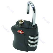 Free Shipping New TSA Resettable 3 Digit Combination Travel Luggage Suitcase Lock Padlock BK(China (Mainland))