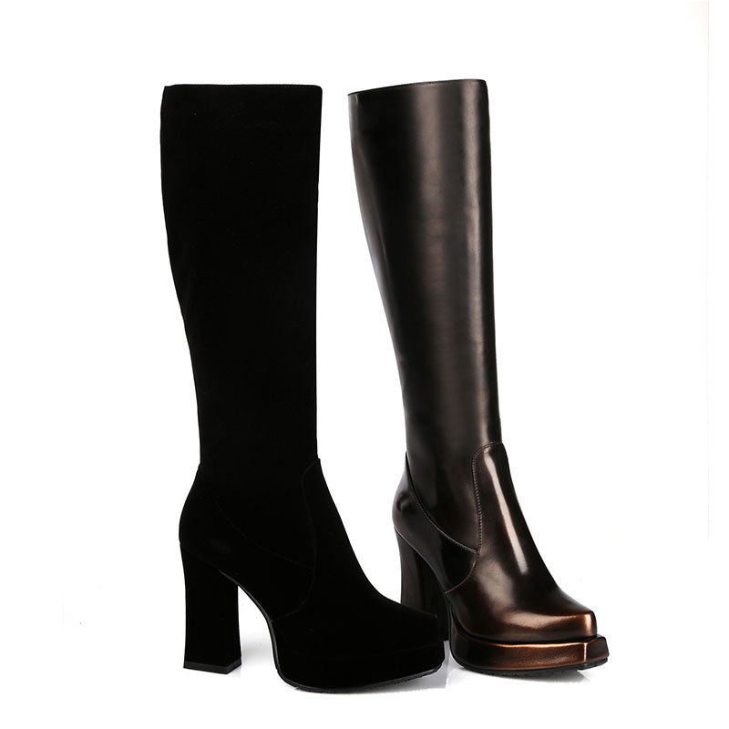 2015 new autumn toe high heeled boots solid