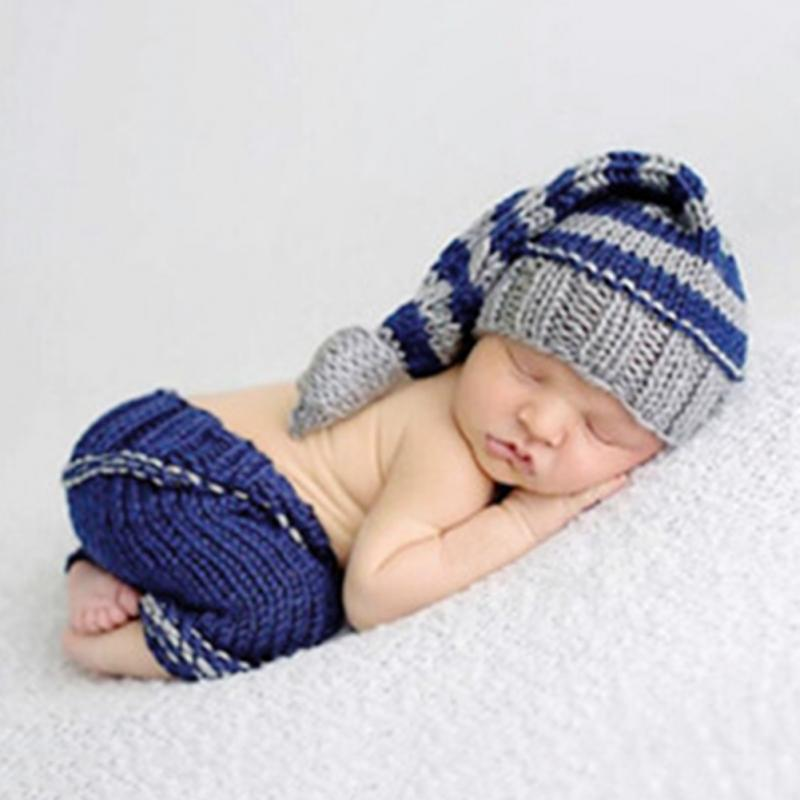 Fashion Baby Newborn Photography Photo Props Beanies Costume Crochet Outfit Newborn Hat Pant(China (Mainland))