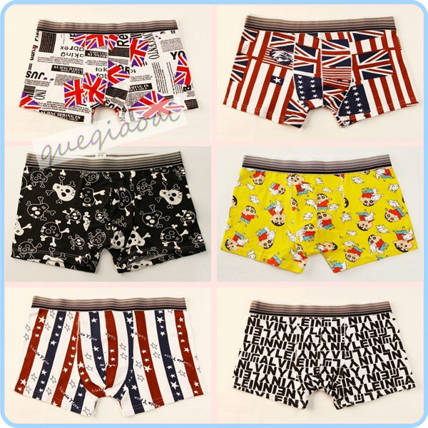 YW001 2014 fashion manstore american flag underwear bones Crayon Shin-chan cartoon pattern pattern swimming trunks men boxers(China (Mainland))