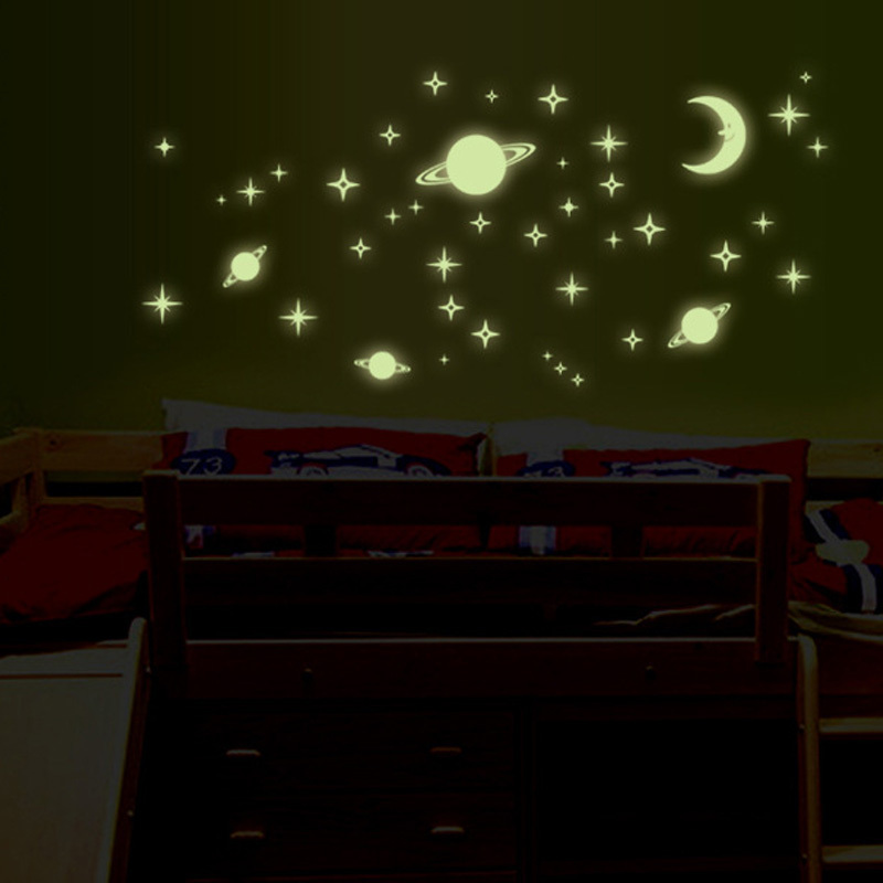 Wall stickers home decor Universe planet DIY Noctilucence glow in the dark for kids rooms Art Stickers PVC Decals wallpaper(China (Mainland))