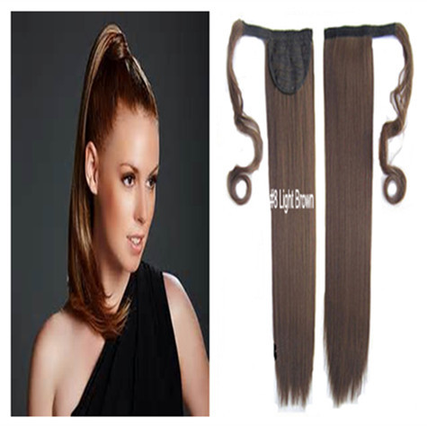 Long Ponytail Color:#8 Light Brown 16 inch100g 20 inch120g Wrap Around Clip Velcro Straight Woman's  -  wigs & hair extensions store store