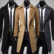 2016 new arrival cheap trench coat slim fit long sleeve double breasted winter long trench coat men size m-3xl(China (Mainland))