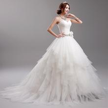 Fashionable White Sweetheart Wedding Dress Plus Size Wedding Dresses With Train Flower Bride Wedding Dress Vestido De Noiva H978(China (Mainland))