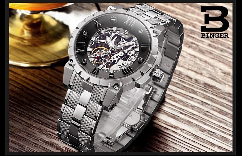 Швейцария Новый дизайн Бингер полноценно Бизнес Часы Из Нержавеющей Стали Наручные Часы мужские Автоматические Часы Армии