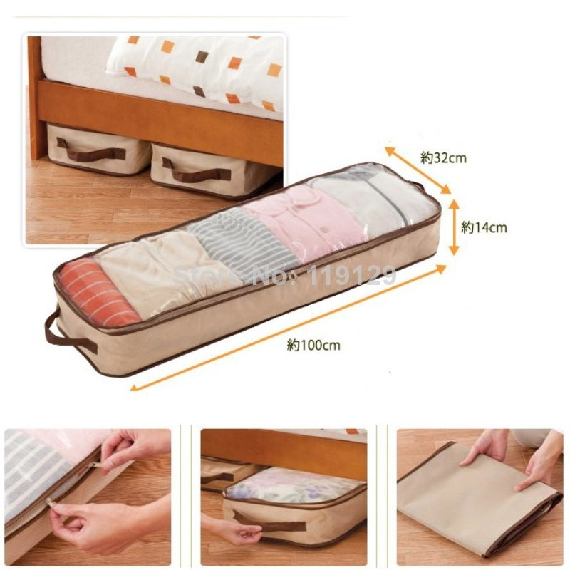 47L Beige Bag Home Save space organizer Underbed Closet Storage bag Clothes Divider Organiser quilt Organizer Under Bed(China (Mainland))
