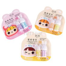 2PCS/Set Cute Mini Portable Travel Hot Women Girl Kid Moisture Makeup Maquiagem Lip Balm #68380(China (Mainland))