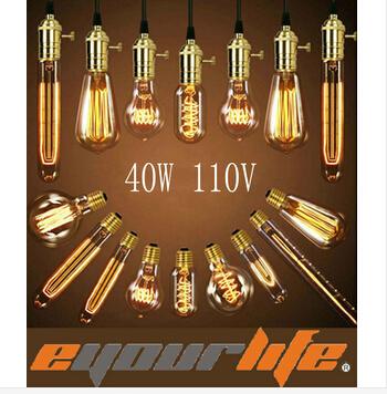Лампа накаливания Eyourlife 220v 40w E27 Incandiscent ST64/A19/G80/G95/G125/T30/T45 ST64/A19/G80/G95/G125/T30/T45 Edsion Lamp t45 e27 220v 40w incandescent bulb retro edison light bulb