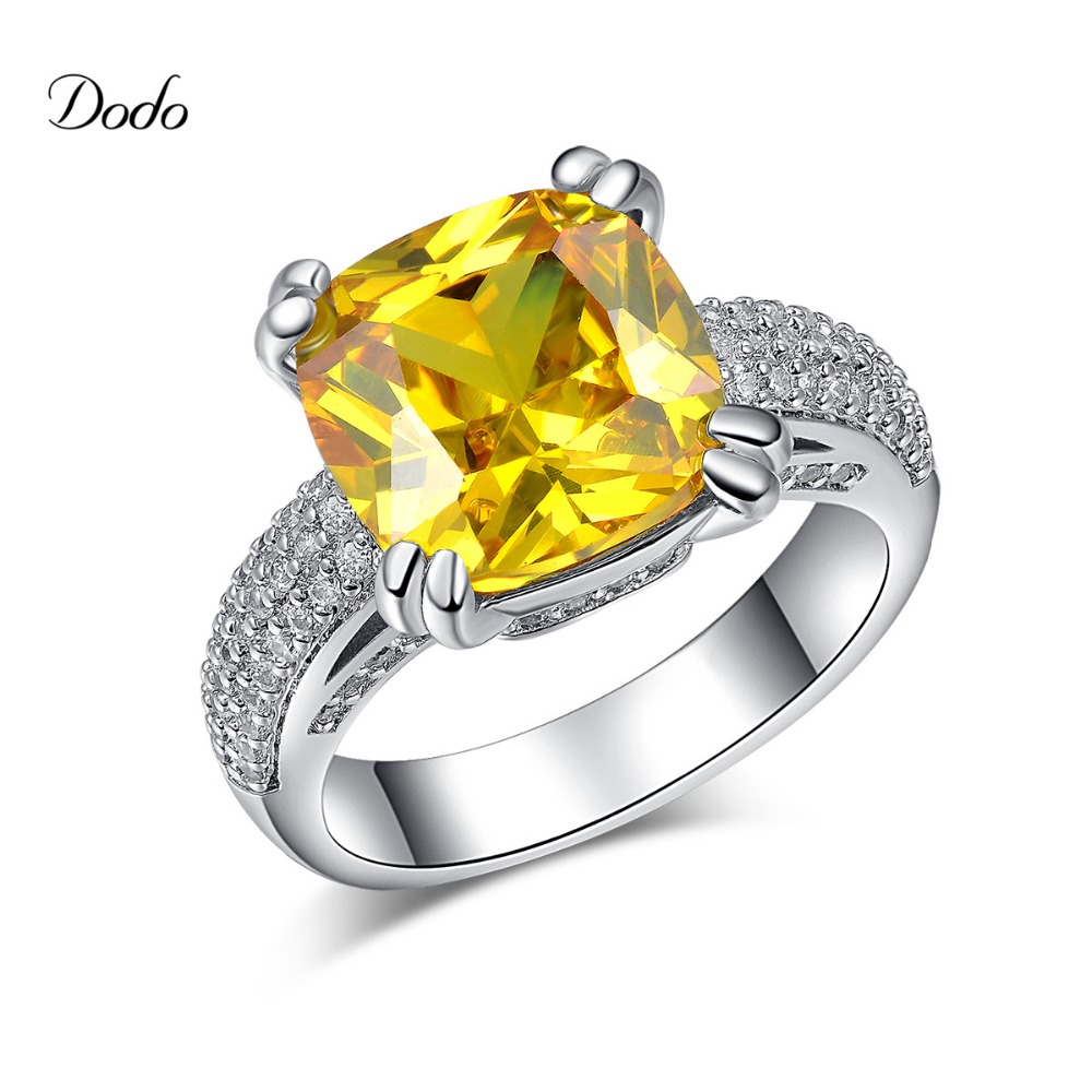 romantic vintage accessories silver plated rings for women CZ diamond big stone topaz jewelry wedding dress unique product DR178(China (Mainland))