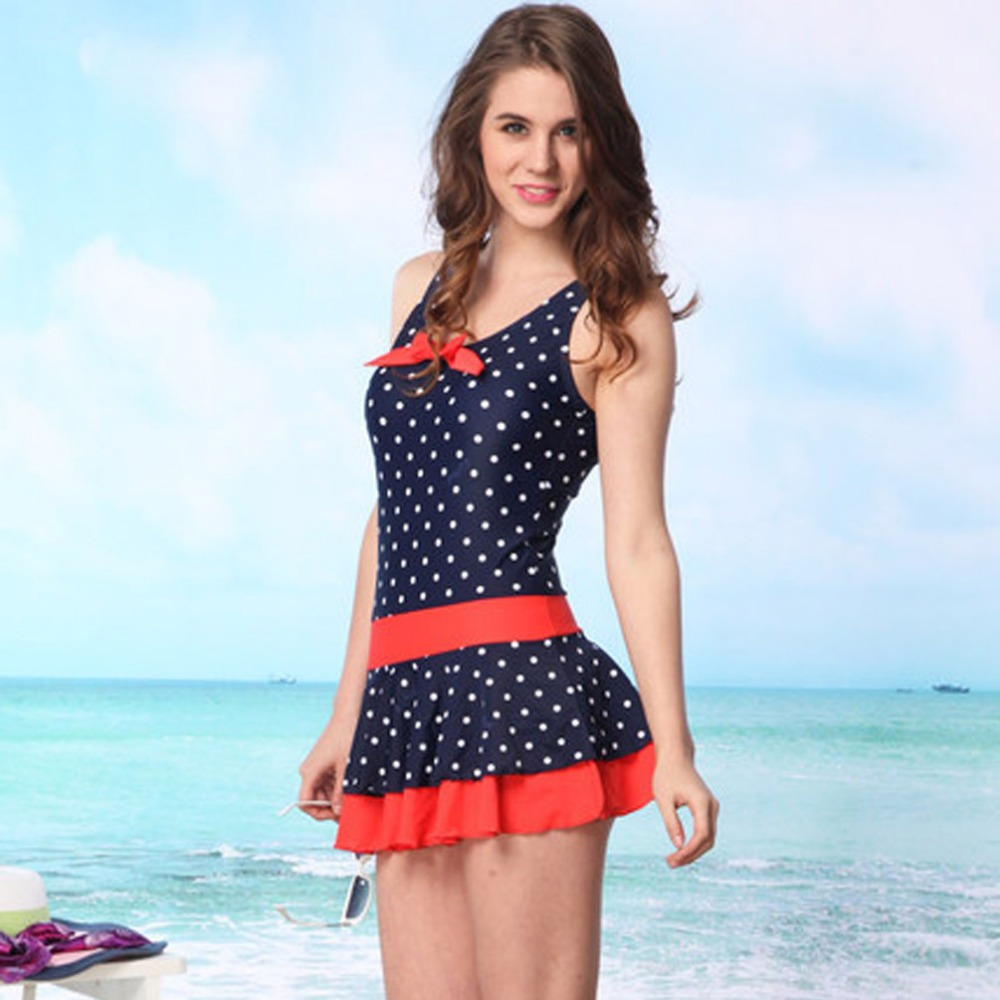 Women Fashion Summer Beach Dress Blue Swimwear One Piece ...