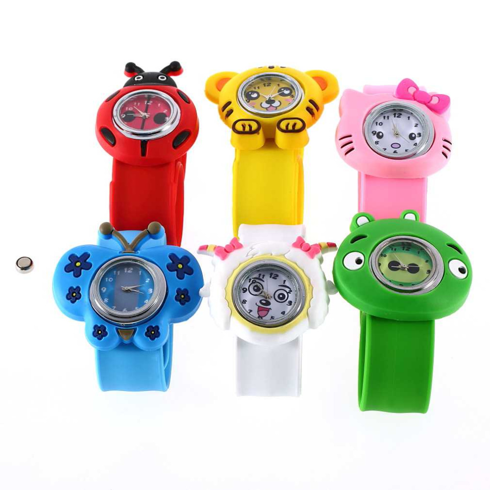 Boys Girls Children New1pcs Fashion Animal Slap Snap On Silicone Wrist Watch Kids Gift top quality(China (Mainland))