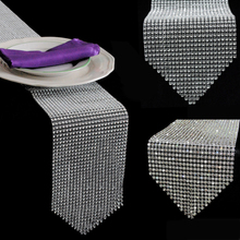 """Buy 4.6"""" x 108"""" Diamond Mesh Table Runner Bling Sparkly Wrap Rhinestone Wedding Ribbon Party Table Decoration for $5.96 in AliExpress store"""