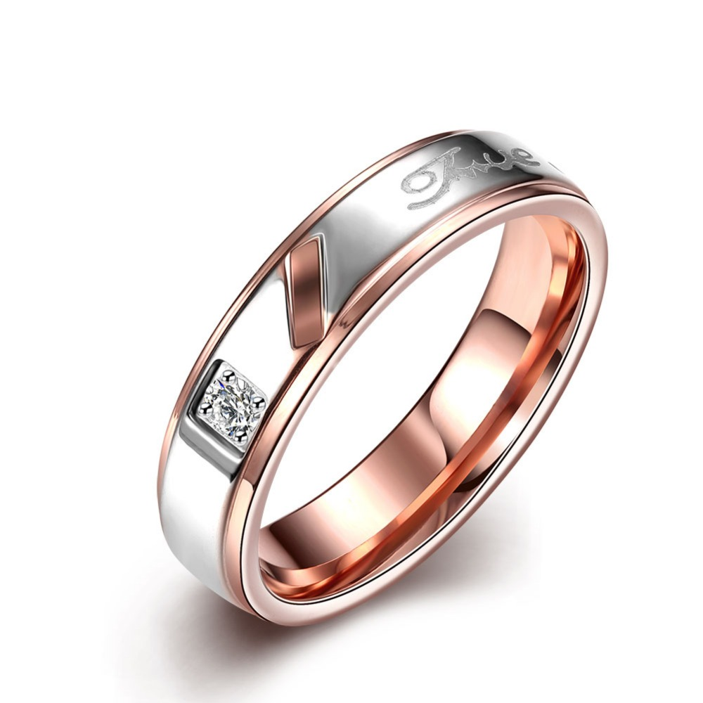 50% Off Rose Gold Cz Ring Of Stainless Steel Wholesale Wedding Hand Rings With Stones For Women Menina Bijouterie TGR100B(China (Mainland))