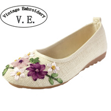 Vintage Embroidery Women Flats Flower Slip On Cotton Fabric Linen Comfortable Old Peking Ballerina Flat Shoes Sapato Feminino(China (Mainland))