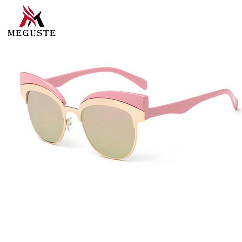 Hot 2016 new style fashion Pink metal frames gold mirror lens Cat Eye sunglasses women brand designer.oculos de sol feminino+Bag(China (Mainland))