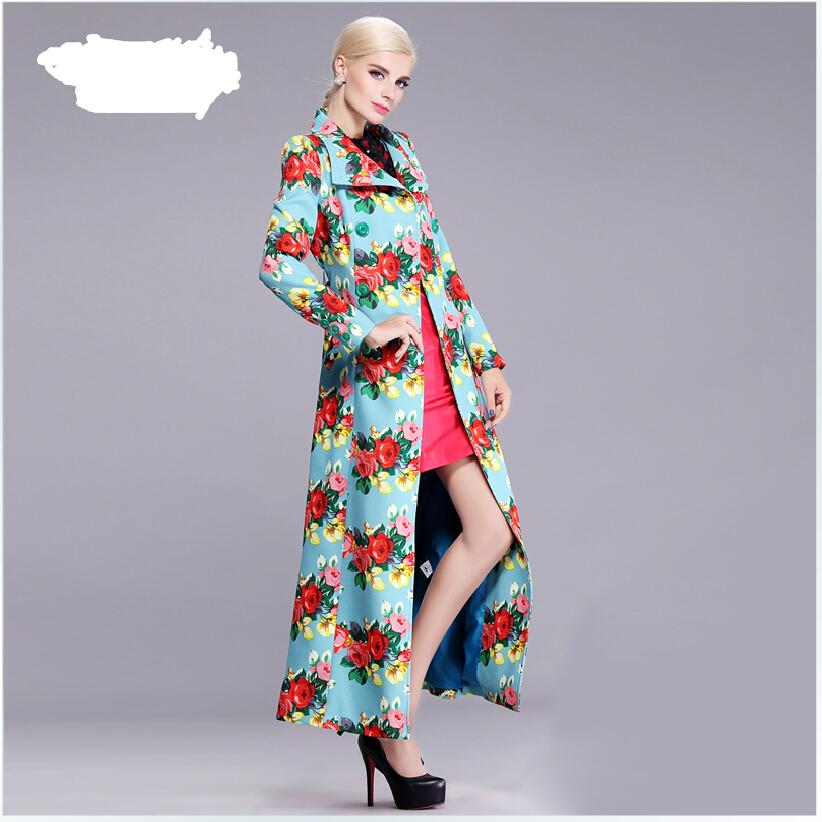 European New Style Autumn Women Fashion Trench coat Long sleeve Printed Super Long Coat Elegant Big yards Slim Women Coat G1849Одежда и ак�е��уары<br><br><br>Aliexpress