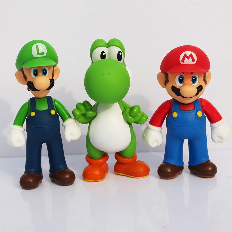 Free shipping 3pcs/set Super Mario Bros Luigi Mario Yoshi PVC Action Figures toy 13cm(China (Mainland))