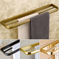Luxury Wall Mounted Double Towel Bar Brass Antique Golden Towel Rack Towe Rail 4 colors for