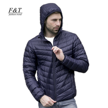 2016 New autumn winter ultra thin duck down men jacket plus size XXXL hooded jacket for men fashion mens Outerwear coat(China (Mainland))