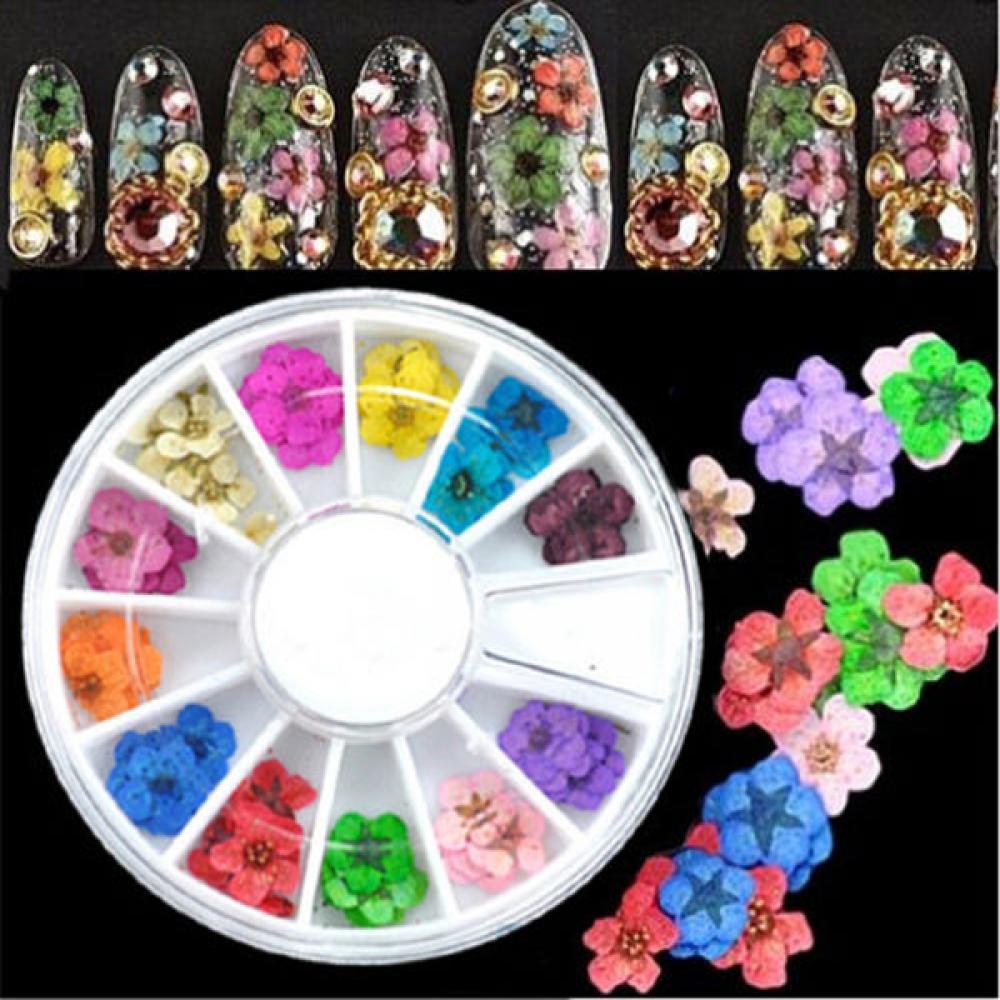 36Pcs 3D Flower Nail Art Sticker Hot Sale Dried DIY Tips Acrylic Decoration Wheel Fashion Women Nail Art Tools(China (Mainland))
