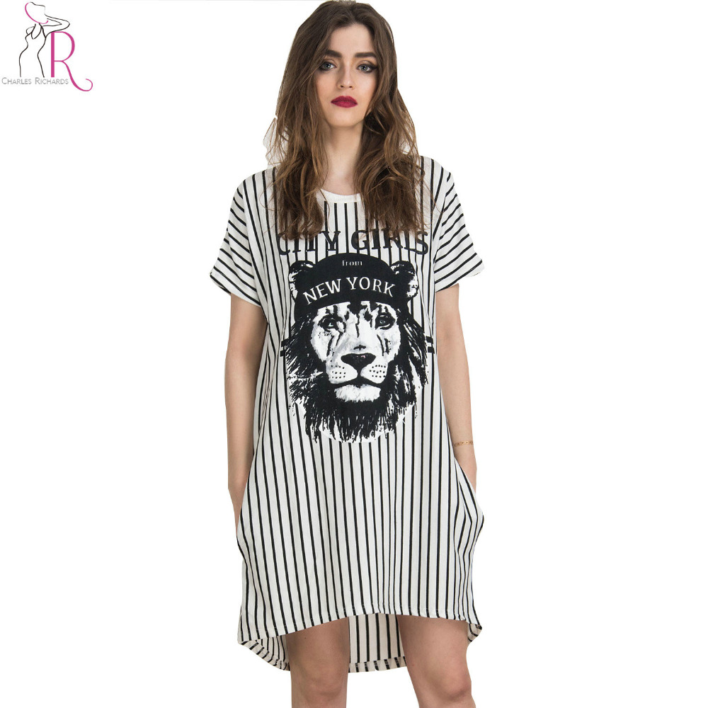 White Stripes Lion Animal Prints Short Sleeve Staight Shift Mini Jersey Casual Long t shirt Dress 2016 Summer New Women Fashion(China (Mainland))