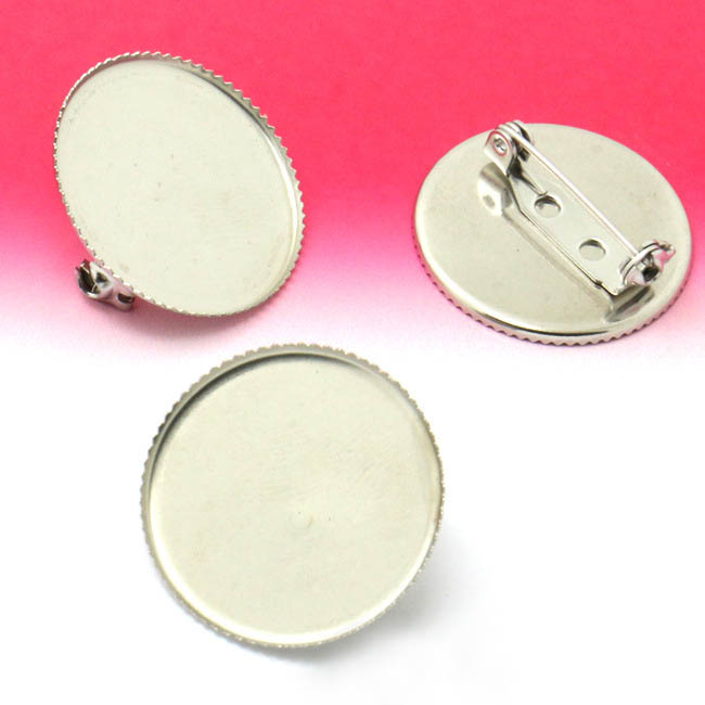 25mm Blank Brooches Bases Stainless Steel Round Bezel tray Back Pins Glass Cabochons Brooch Pins Settings Findings DIY Crafts(China (Mainland))