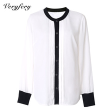 Plus size women clothes 2015 blusa long sleeve shirts women tops summer autumn women blouses chiffon white casual shirts OMX-044(China (Mainland))