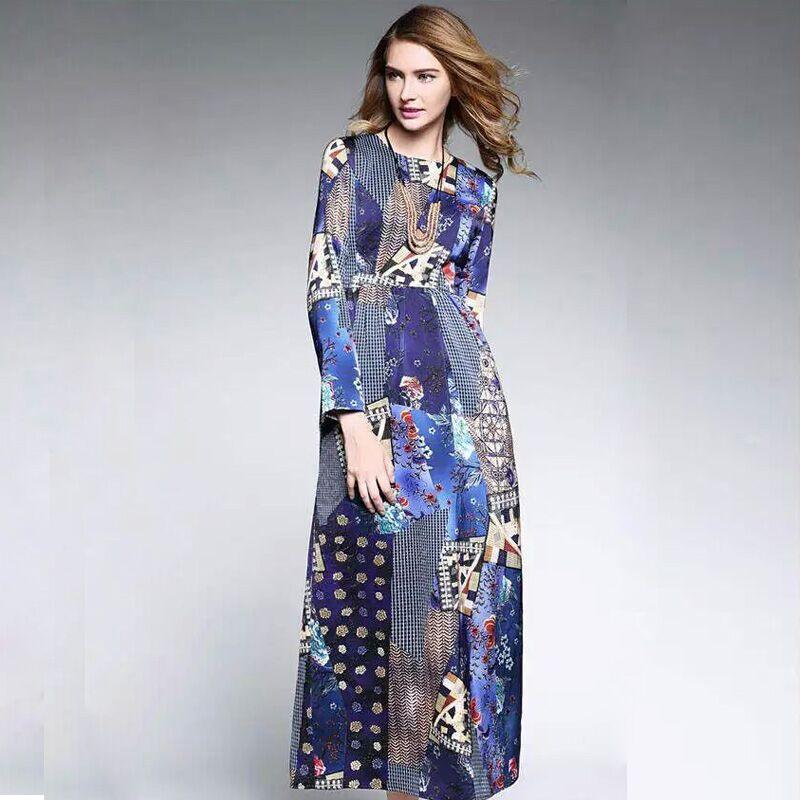 Vintage Dress 2015 New Fashion Autumn Brand Full Sleeve Elegant Retro Art Print Slim With Belt Long Dress WomenОдежда и ак�е��уары<br><br><br>Aliexpress