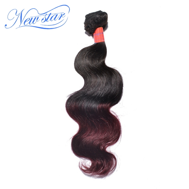 New star hair products, new arrival ombre brazilian virgin hair ombre burgundy 1b/99J body wave 1 piece only hair extension