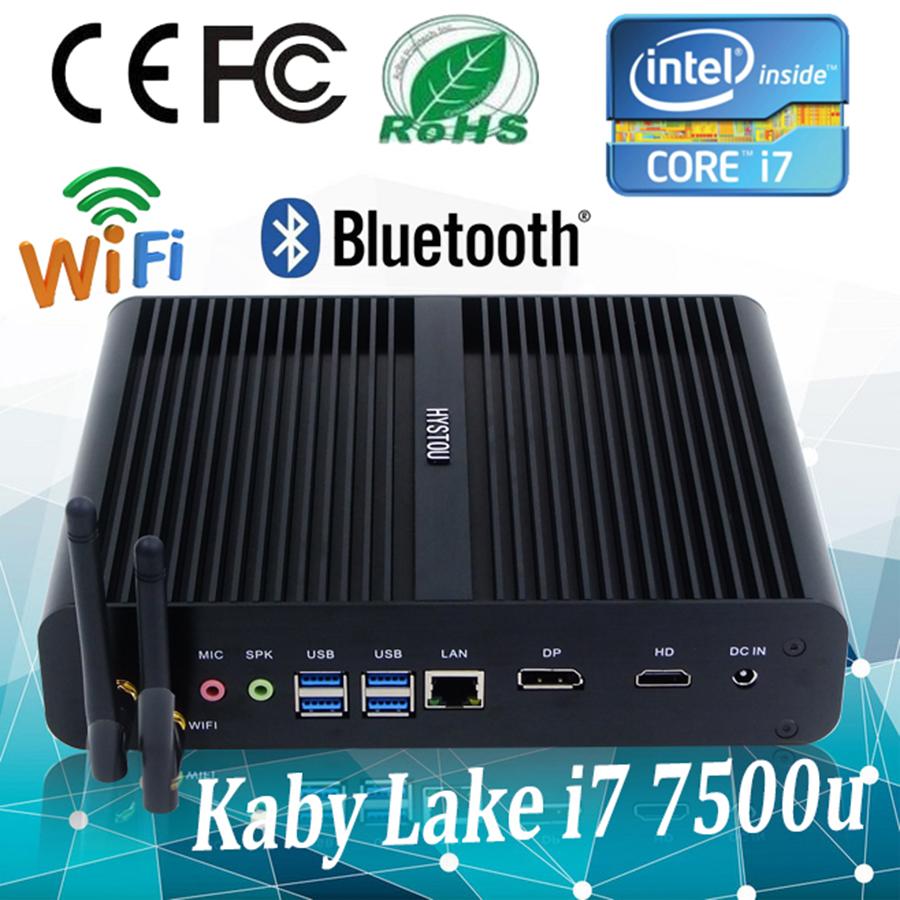 Hystou Desktop Computers Intel 7th Gen Kaby Lake i7 7500u Powerful Fanless Mini PC Mini Computer Support 3D Games Linux Mini PC(China (Mainland))