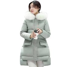 Buy fashion new women winter coat ad jacket loose line wadded outerwear hooded big faux fur collar cloak cotton coat kp1206 for $40.83 in AliExpress store