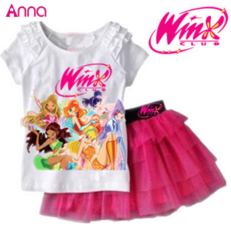 Girls Clothing Set T shirt + Skirt 2Pcs Suits Winx Club Cartoon Kids Set Children's clothes Free shipping(China (Mainland))