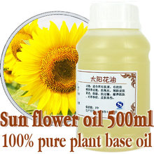wholesale!!skin care oil Free shopping100% pure plant base oils Sunflower oil 500ml handmade soap raw materials Anti-aging(China (Mainland))