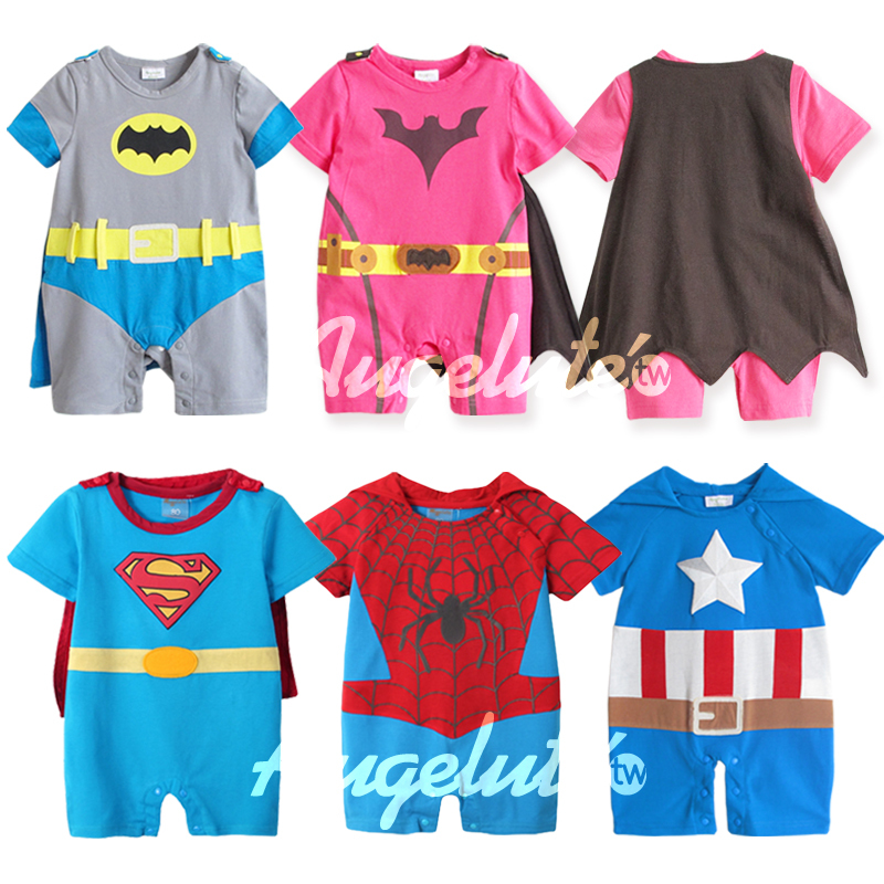 New2014 Summer Cartoon 100% Cotton Batman Baby Boy Rompers Cute Superman Baby Girl Romper Infant Short Sleeve Baby Jumper Retail(China (Mainland))