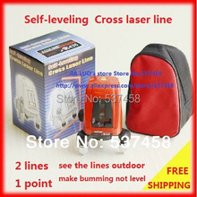 Free Shipping good packing AK435 360degree Self- leveling Cross Laser Level Red 2 Line 1 Point (China (Mainland))
