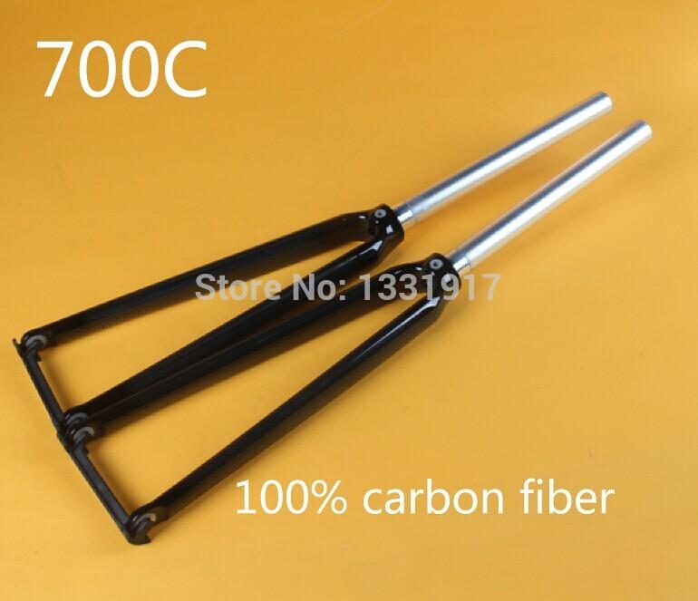 700C HOT NEW High quality CRF-3K 100% carbon fiber ultra-light Bicycle fork & RockShox , Road track bike hard fork Free shipping(China (Mainland))