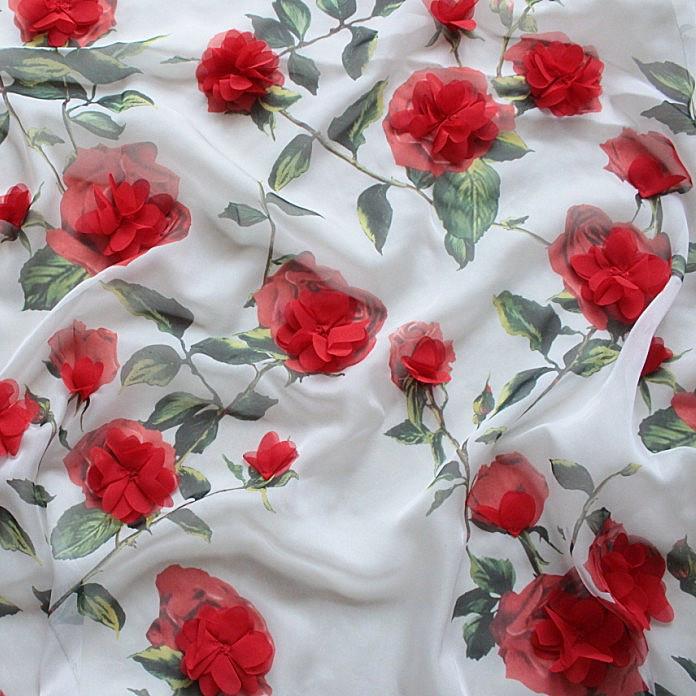free shipping 3D stereoscopic rose flower embroidery chiffon dress high-end wedding dress fabric diy(China (Mainland))