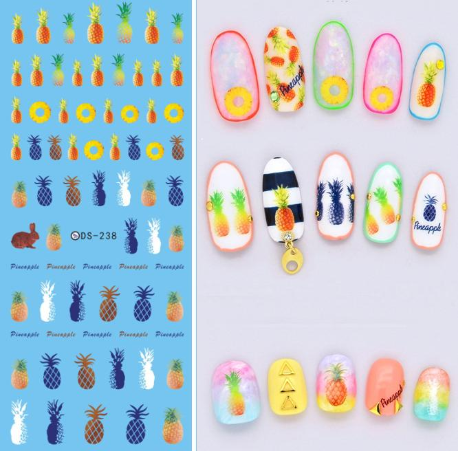 DS238 DIY Designer Beauty Water Transfer Nails Art Sticker Pineapple Rabbit harajuku Nail Wraps Foil Sticker Taty stickers(China (Mainland))