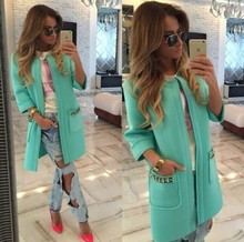 Hot Sale New 2016 Explosion Models Fall and Winter Coats for Ms. Candy-Colored Thick Sleeve Female Long Women Open Stitch 10023(China (Mainland))