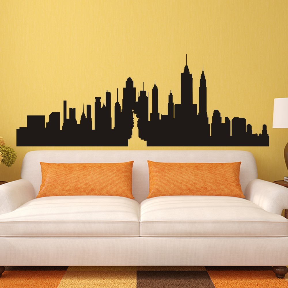 New york city skyline silhouette the big apple wall for W home decor