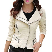 Plus Size M-5XL New Fashion 2016 Autumn Winter Women Leather Coat Female Slim Rivet Leather Jacket Women's Outerwear WWP108(China (Mainland))