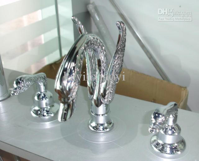 3 PCS swan sink faucet widespread lavtory sink faucet cupc nsf faucet animal taps(China (Mainland))