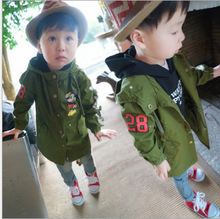 2015 the spring and autumn child clothing girls and boys mickey in paragraph dust coat grows in kids uniform greatcoat