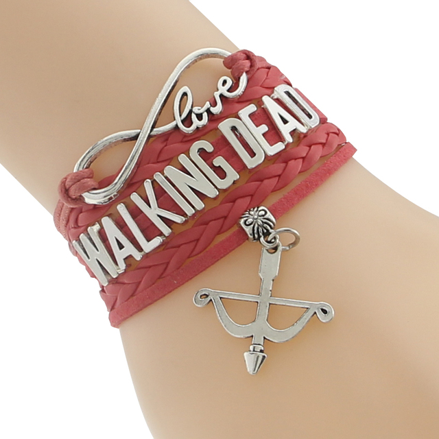 The Walking Dead Bracelet – Multi-Color Leather Braided Velvet Bracelet With Bow Charm
