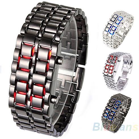 Men Women Lava Iron Samurai Metal LED Faceless Bracelet Watch Wristwatch Stainless Steel 1HJV(China (Mainland))