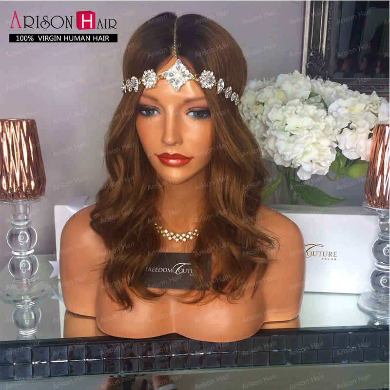 Brazilian hair ombre wig two tone T1B/30 glueless full lace human hair wigs ombre lace front wig &amp; upart wigs for black women<br><br>Aliexpress