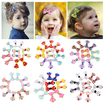 10Pcs/lot Fashion Girls Kids Candy Color Dot Flower Print Ribbon Bow Hairpin Hair Clips Kids Hair Accessories